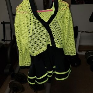Girls black and lime green dance costume